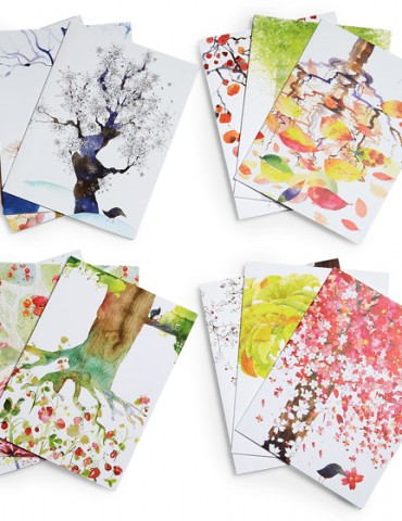 Set of 12 months note cards by Masha D'yans celebrates nature.