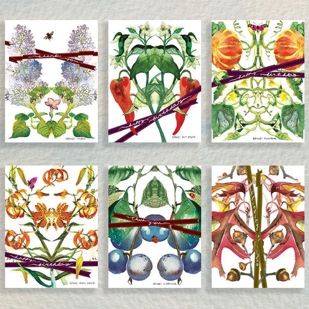 botanicus twelve greeting cards plants nature watercolor masha d'yans