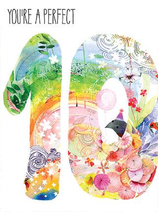 perfect ten masha d'yans watercolor birthday card