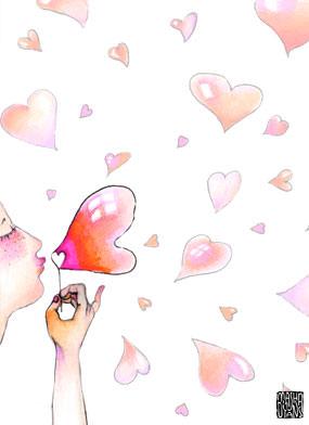 Heart bubbles blow Masha Dyans watercolor love card.