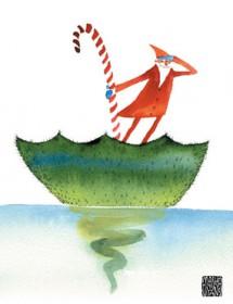 santa tree boat