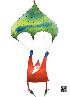 parachute santa