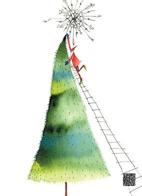 santa on ladder