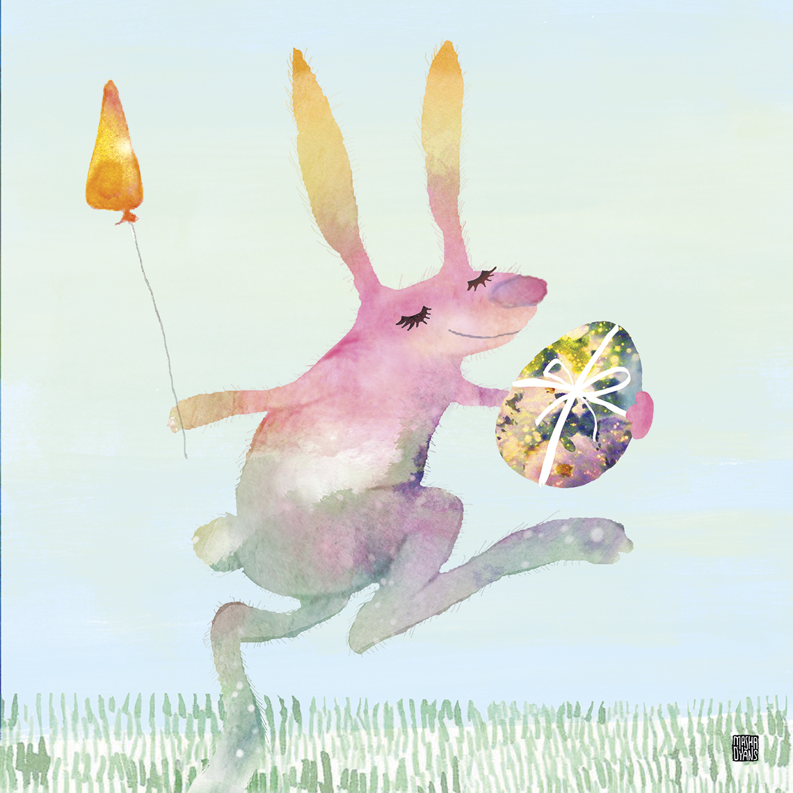April Easter Bunny watercolor by Masha D'yans