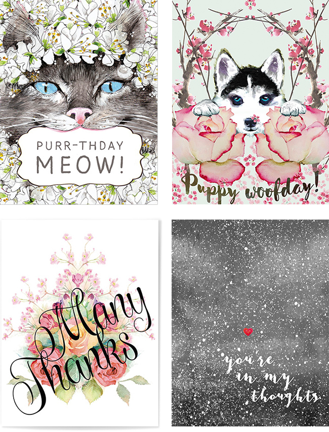 New Year New Cards 4 new watercolor greeting cards from Masha D'yans
