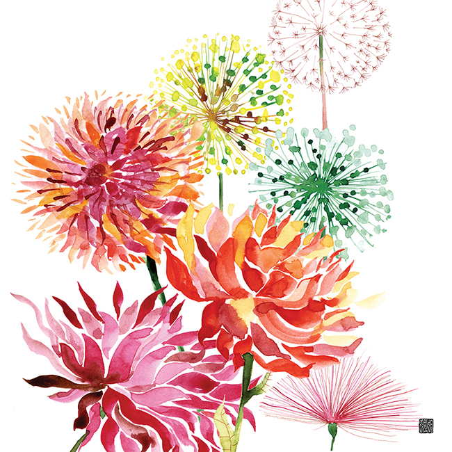 July Fireworks watercolor by Masha D'yans