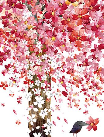 Cherry Tree April Bird watercolor greeting card by Masha D'yans
