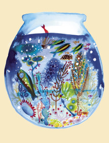 Aquarium watercolor greeting card by Masha D'yans