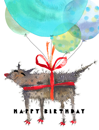 B05 balloon dog masha dyans watercolor greeting card