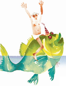 B06 boy on fish birthday boy green fish masha-dyans watercolor greeting card
