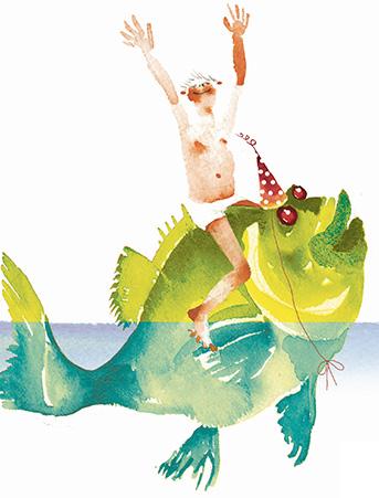 B06 boy on fish birthday boy green fish masha-dyans watercolor greeting card