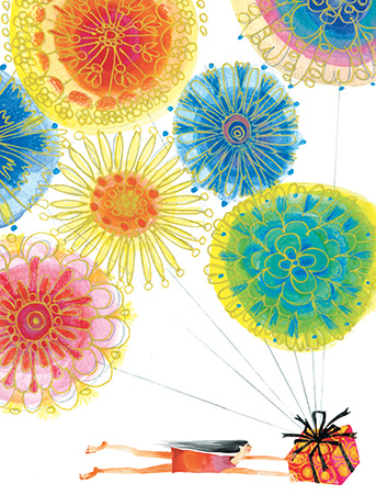 B07 fly gift balloons flowers girl masha dyans watercolor birthday card