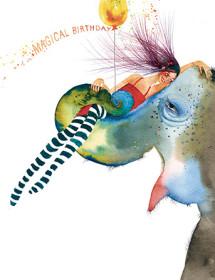 B09 elephant ride birthday masha dyans watercolor greeting card