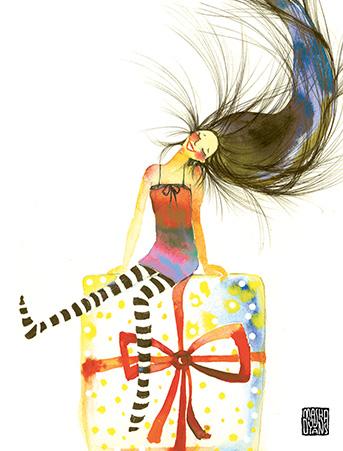 Girl hair flip sitting on gift watercolor birthday card by masha d b12 girl hair sitting gift watercolor birthday card bookmarktalkfo Images