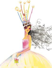 birthday queen masha dyans watercolor greeting card
