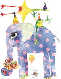 B14 birhday animals gift masha dyans watercolor greeting card