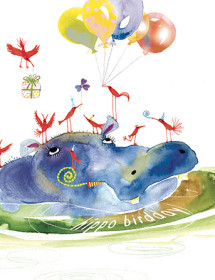 hippo birdday balloons watercolor birthday card masha d'yans