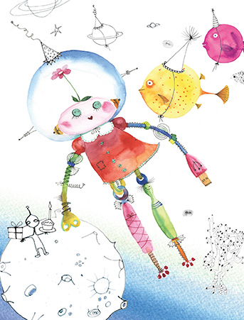 B17 robo space girl birthday aliens masha dyans watercolor greeting card