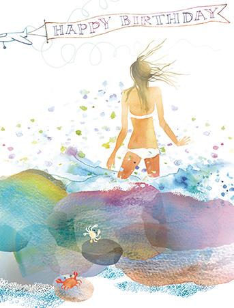 beach rocks birthday watercolor greeting card by masha d'yans, Birthday card