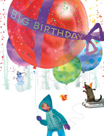 B20 big balloon boy birthday masha dyans watercolor greeting card