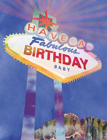 B23 vegas Birthday sign masha dyans watercolor greeting card