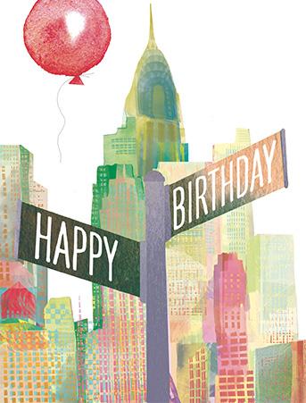 B24 NY birthday sign masha dyans watercolor greeting card