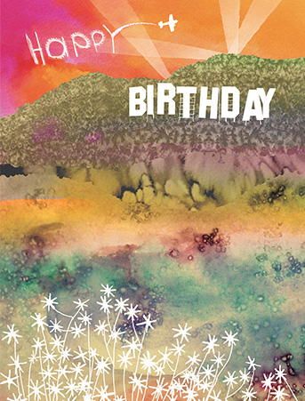 B25 hollywood birthday hills sunset masha dyans watercolor greeting card