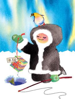 eskimo gift northern lights fishing watercolor greeting card Masha D'yans