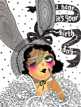 Flapper Bunny Lace Ears Watercolor Birthday Card By Masha D
