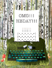 B29 typewriter birch forest birthday masha dyans watercolor greeting card