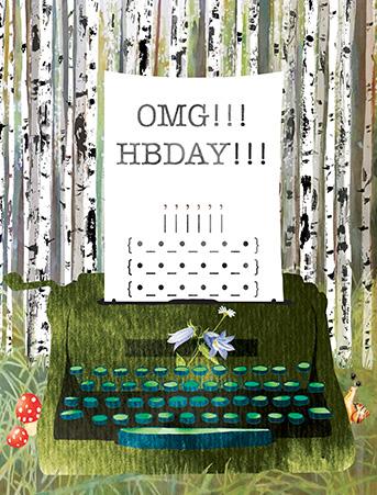 B29 typewriter birch forest birthday masha dyans watercolor greeting card