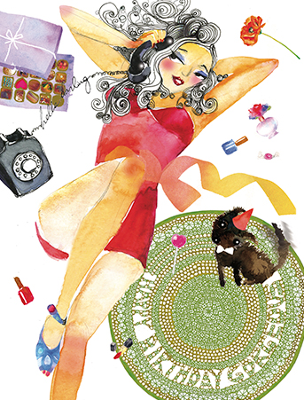 Phone Pinup Puppy Watercolor Glamour Birthday Card By Masha Dyans