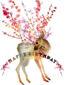 fawn cherry branches birthday watercolor masha dyans greeting card