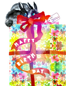 bunnies flower wrap gift bow watercolor masha dyans greeting card