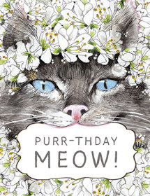 Purrthday Meow watercolor birthday card by Masha D'yans.