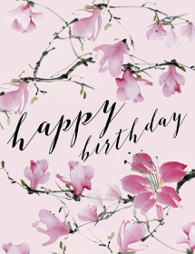 Magnolia Branches Birthday watercolor greeting card by Masha D'yans.