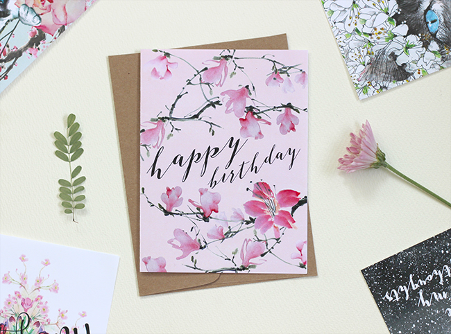 New Year New Cards B37 Magnolia Branches Birthday by Masha D'yans