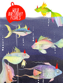 B38 bday fishes masha-dyane watercolor birthday card