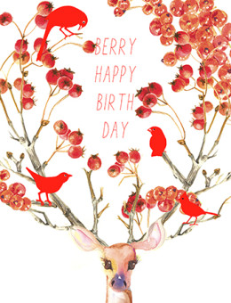 A card for someone berry deer to you! This Masha D'yans birthday greeting card gets your festive point across with a touch of magic, wilderness and charm.