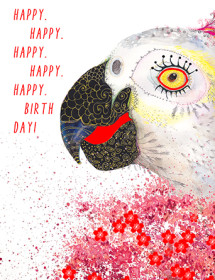 We can't parrot it enough; birthdays are meant to be happy! Make someone's day with this Masha D'yans birthday greeting card infused with fun and whimsy.