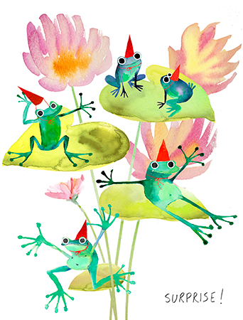 Frog Bouquet Surprise all birthday watercolor greeting card by Masha D'yans