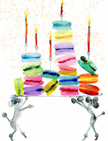 Macaron Poodles watercolor birthday card by Masha D'yans