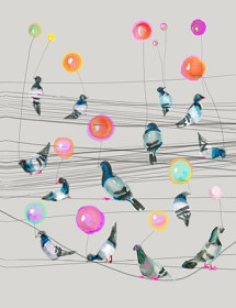 B46 pigeon balloons powerlines watercolor card masha dyans