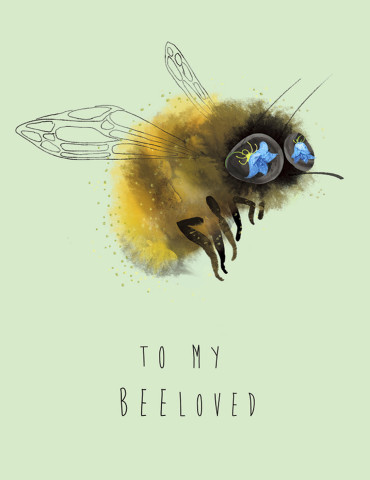 BeeLoved watercolor greeting card by Masha D'yans