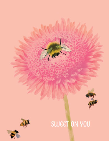 Sweet Bee watercolor greeting card by Masha D'yans sets a lovely mood for any occasion: Birthday, Love, Valentine's Day, Thank You, Sympathy, Encouragement, Miss You or Just Because.
