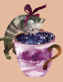 Starry Cat Cup watercolor greeting card by Masha D'yans
