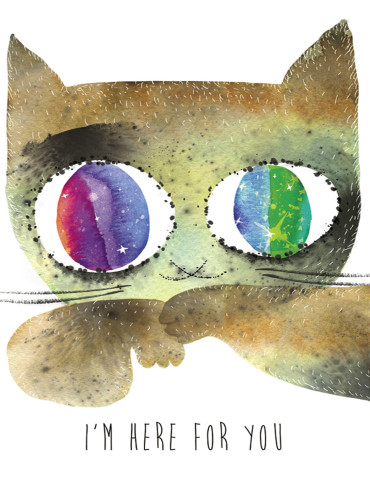 There For You Cat watercolor greeting card by Masha D'yans