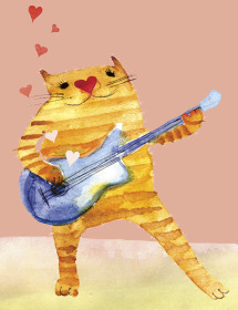 Guitar Cat watercolor greeting card by Masha D'yans