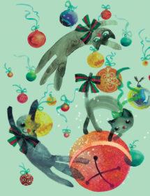 xms ornaments cats watercolor masha dyans