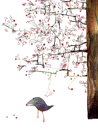 Red Berry Tree December Bird watercolor greeting card by Masha D'yans